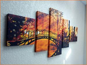 Модульная картина на стене с фото Осенний лес