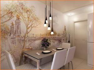Фотообои на кухне, фото готового интерьера